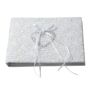 White Lace Ribbon Wedding Guest Book