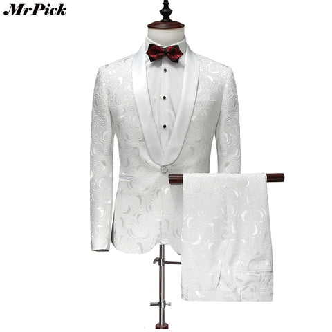 Men Tuxedo Fashion Designer Brand White Floral Flower Suits