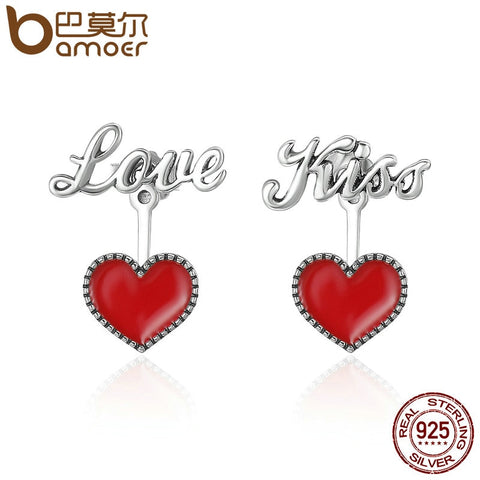 Silver Exquisite Red Heart Love & Kiss Letter Stud Earrings