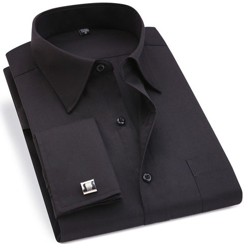 Classic Black French Cufflinks Long Sleeve Shirt