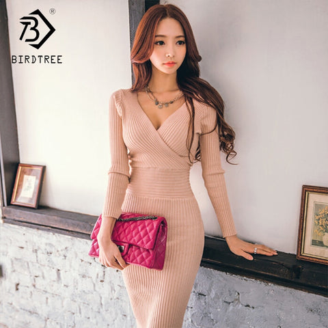 Women's Sweater Dresses Empire Knee-Length