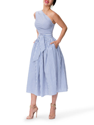 Women's  Striped  Hight Waist  A-Line Skater Dresses