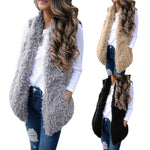 Lady Faux Fur Solid Casual Sleeveless