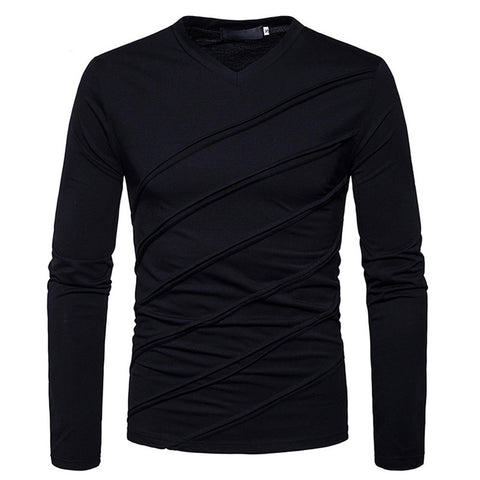 Men's Autumn Winter Long Sleeve Solid Tops Fold Ruched Blouse