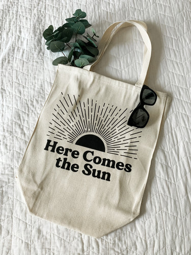 Here comes the sun large canvas bag