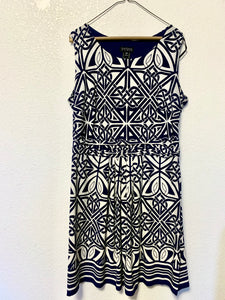 Navy and white pattern dress (sz 16)