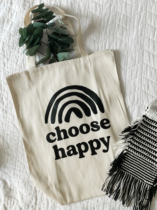 Choose happy oversized canvas tote