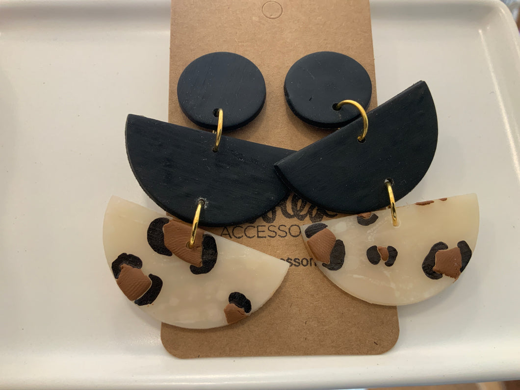 """Black"" fierce Clay Earrings"