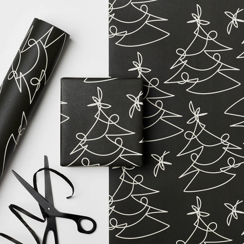 Tree Lines Wrapping Paper | Black