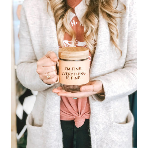 I'm Fine Leather Mason Jar Mug