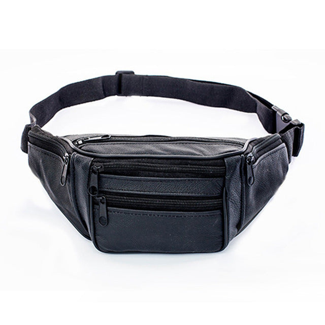 Men Leather Waist Bag Solid Colour Fanny Packs Adjustable Belt Travel Chest Bags