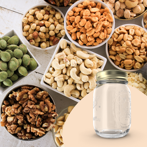 nuts and a glass jar