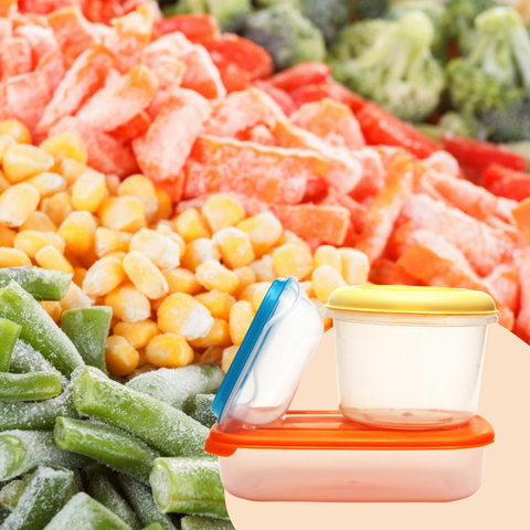 frozen food items and plastic container