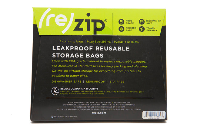 5-Pack Rezips - 2 Small & 3 Medium Stand-up Bags