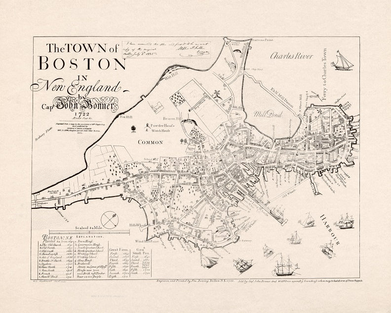 1722 Map of the town of Boston Print