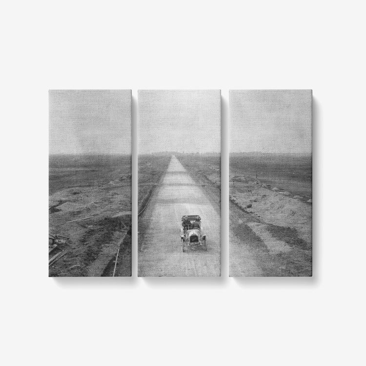 Long Island Motor Parkway 1908 - 3 Piece Canvas Wall Art