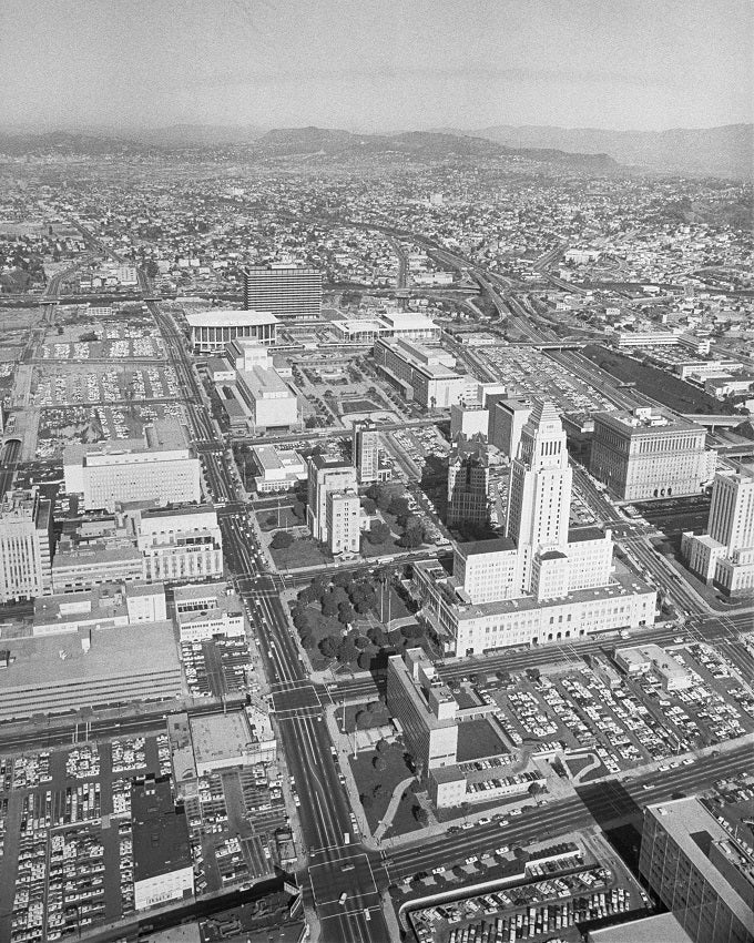 Aerial view of LA City Hall 1967 Print
