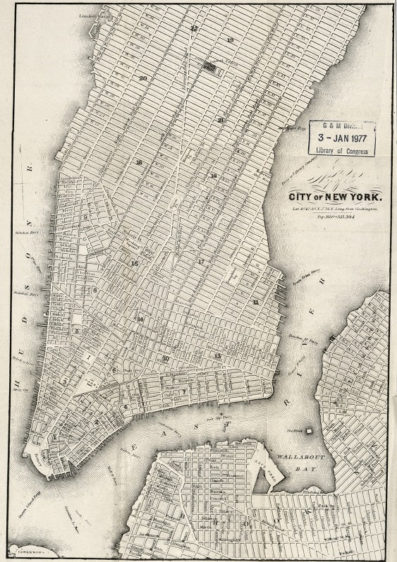 City of New York 1850s Map Print
