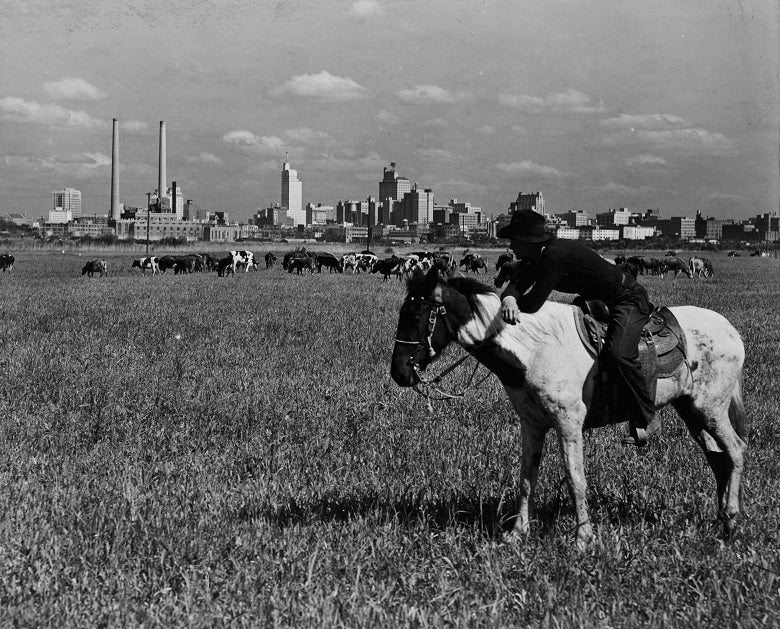 Cowboy with the Dallas Skyline 1945 Print