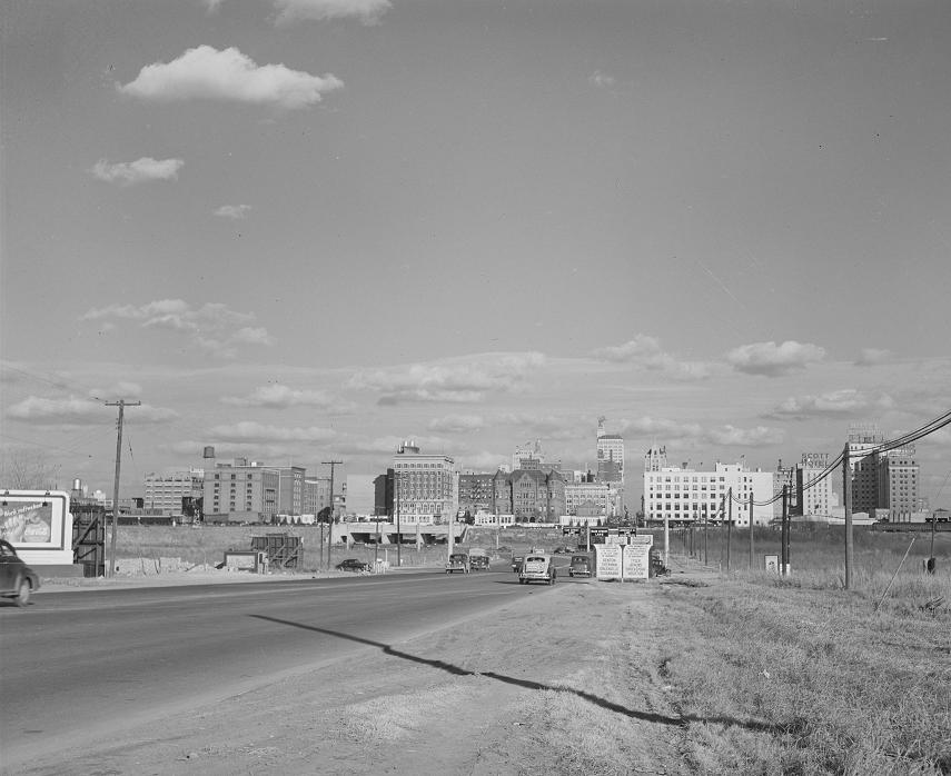Dallas Skyline from I-80 1942 Print