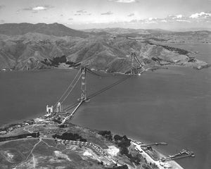 Golden Gate Bridge under Construction 1936 Print