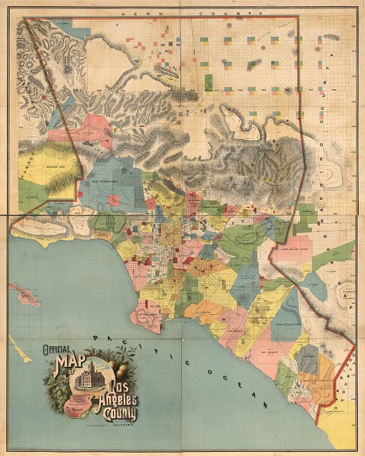 1888 Map of LA County Print
