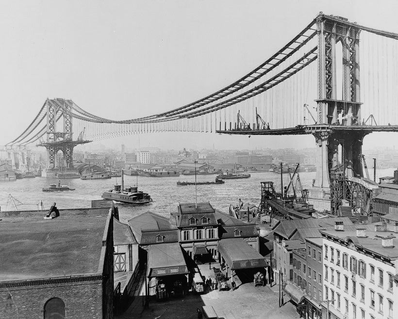 Manhattan Bridge Construction 1909 Print