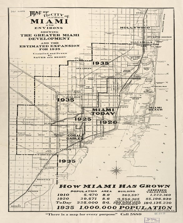 1925 Miami Expansion Map Print