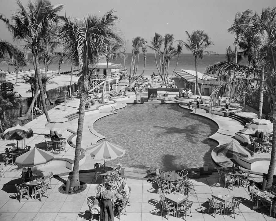 Raleigh Hotel Pool Area 1941 Print