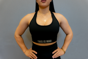 THIS IS WAR DOUBLE CROSSBACK SPORTS BRA