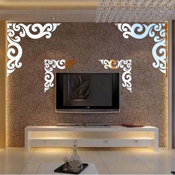 Self-adhesive Diagonal Lace 3D Stereo Mirror Wall Sticker