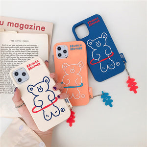 Cute Hula Hoop Bear Case For iPhone & Airpods
