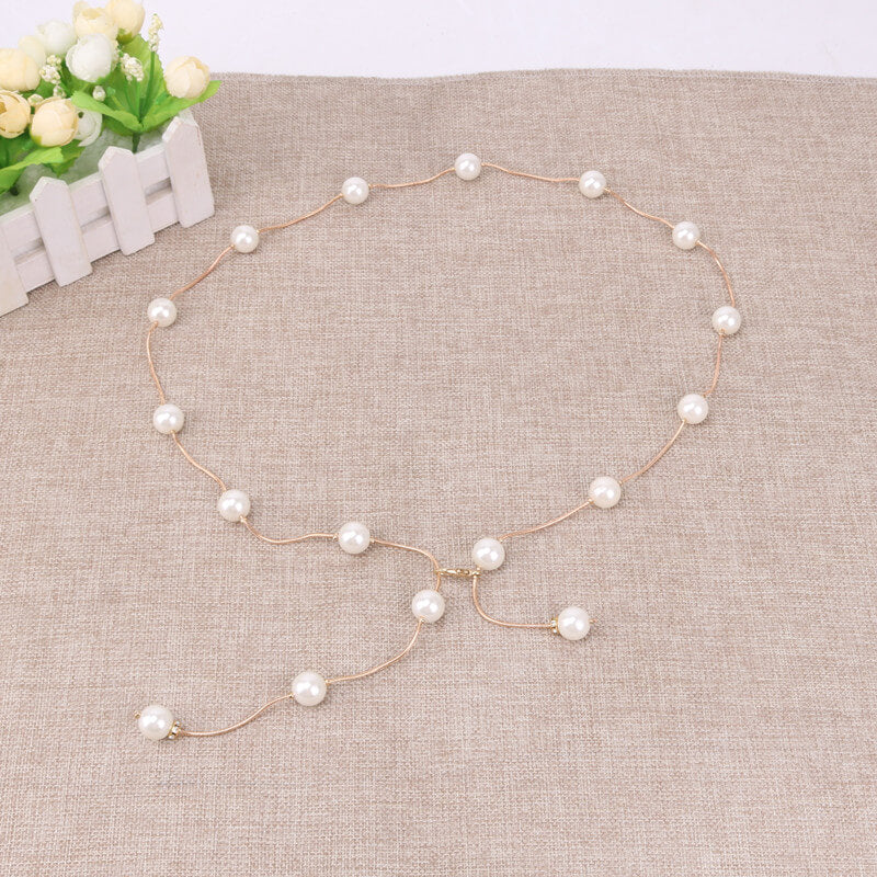 Elegant Metal Pearl Chain Belt