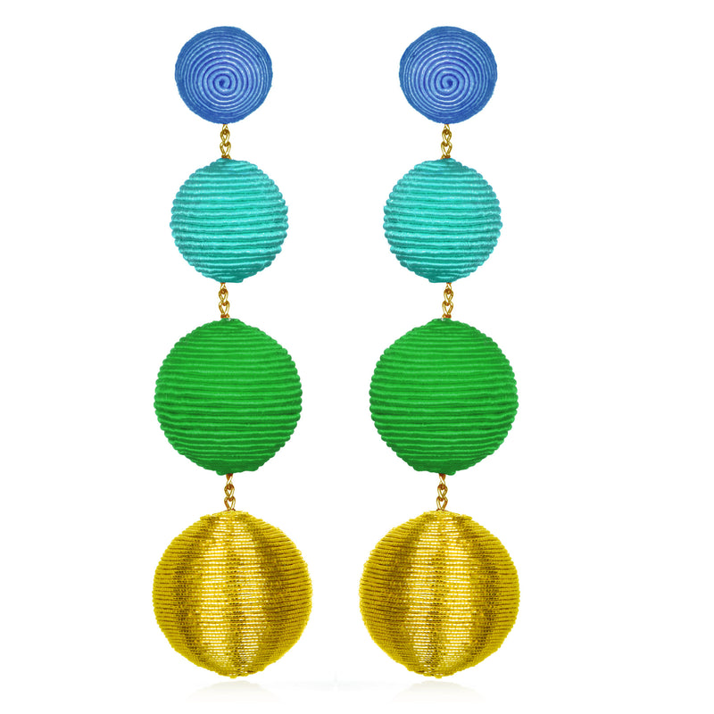 Silk/Metallic Cord Mix Gumball Drop Earrings - Suzanna Dai