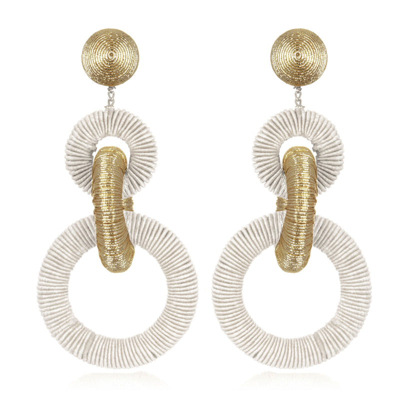 Silk/Metallic Cord Mix Triple Tiered Hoop Earrings - Suzanna Dai