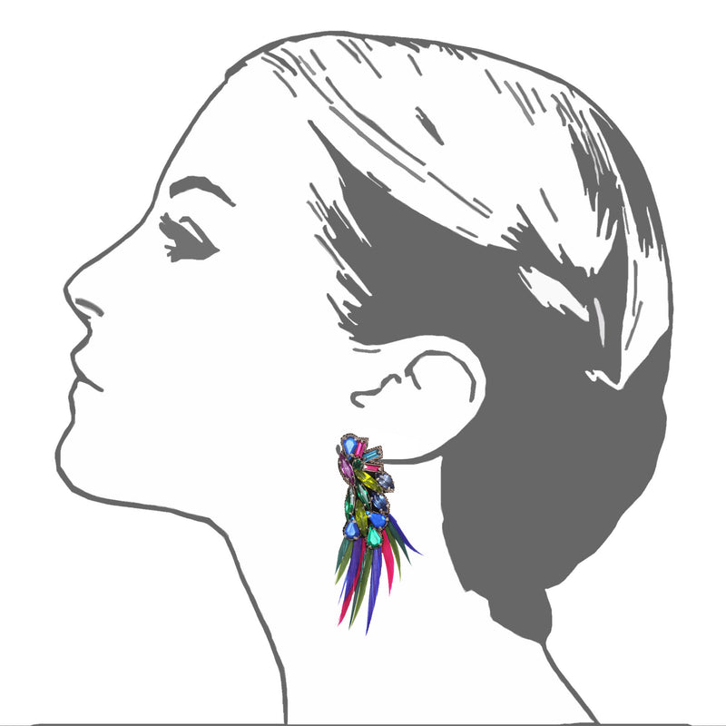 Valparaíso Feather Button Earrings - Suzanna Dai