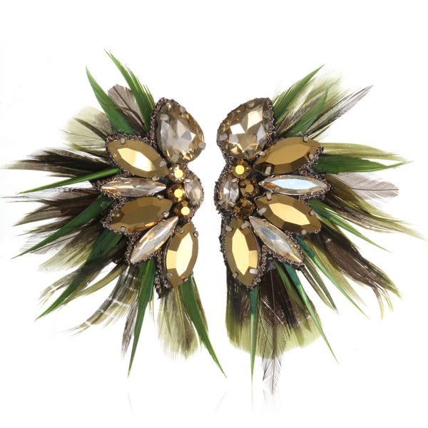 Macapá Feather Button Earrings - Suzanna Dai