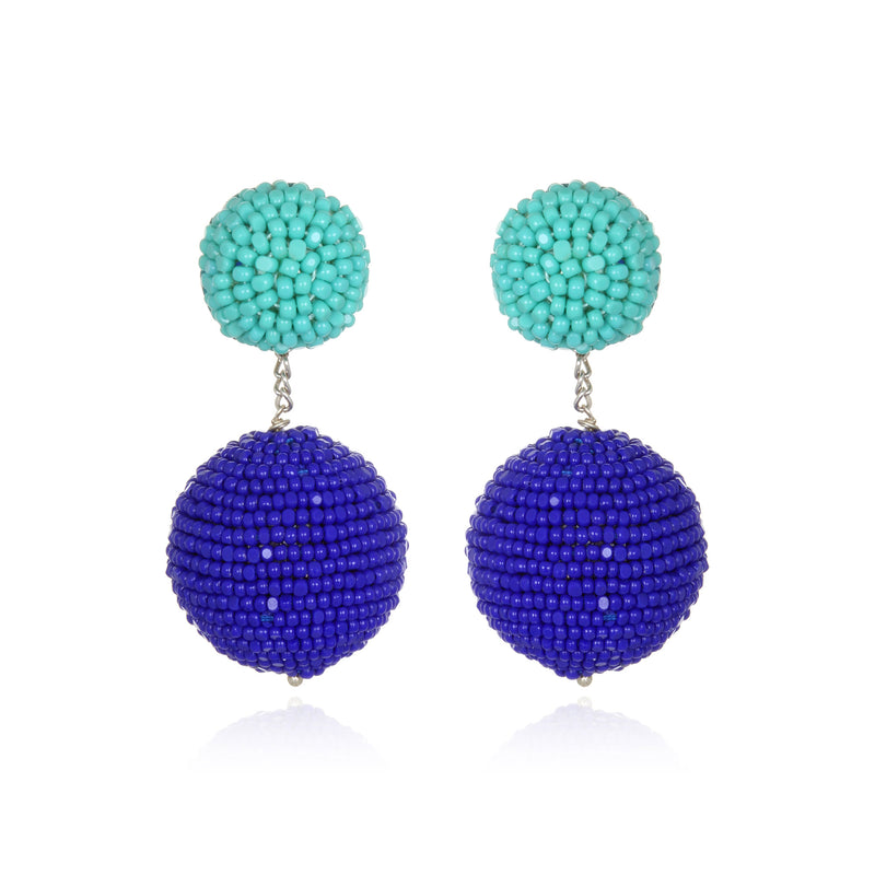 Mixed Color Beaded Double Gumball Drop Earrings - Suzanna Dai