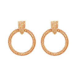 Pave Rhinestone Frontal Hoop Earrings - Sale - Suzanna Dai
