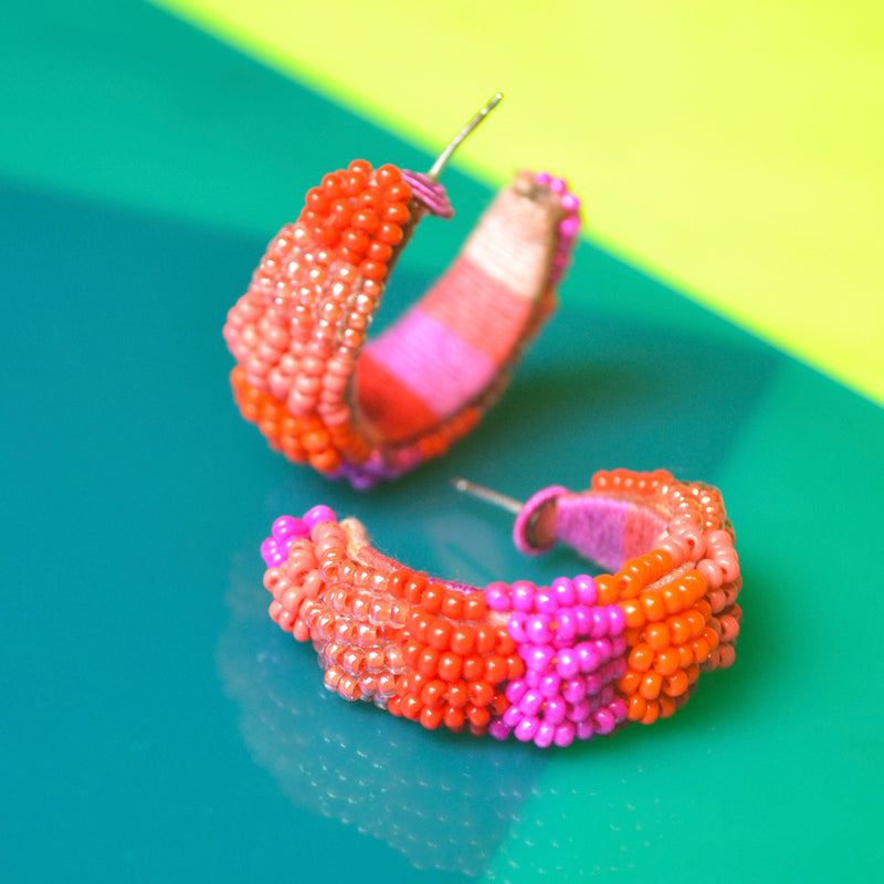 Guadalajara Striped Mini Hoop Earrings - Suzanna Dai