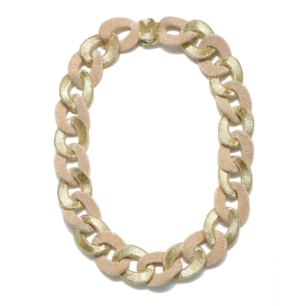 Algiers Silk Metallic Curb Chain Necklace - Suzanna Dai
