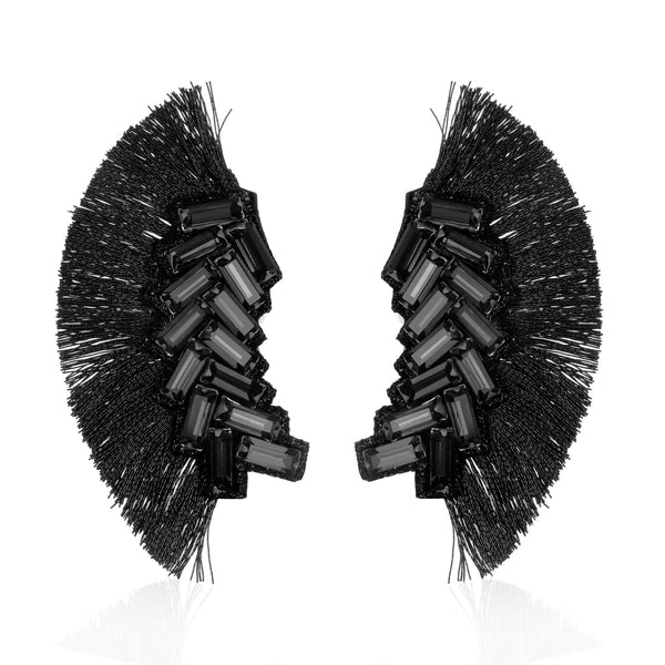 Bengal Chevron Fringe Button Earrings - Suzanna Dai
