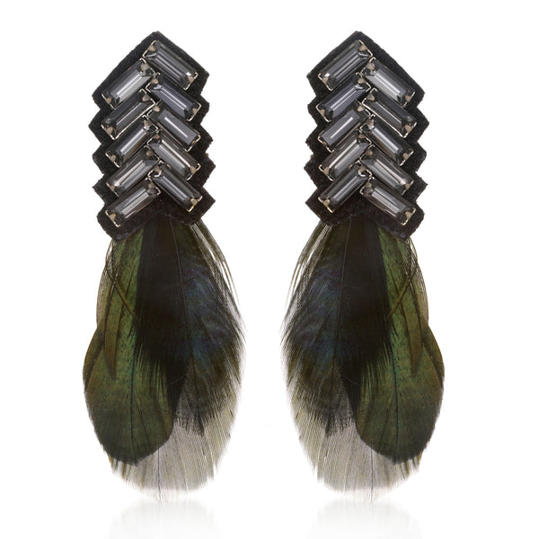 Bengal Chevron Feather Button Earrings - Suzanna Dai