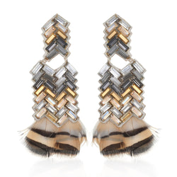Bengal Chevron Statement Feather Earrings - Suzanna Dai