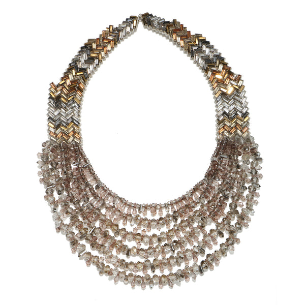 Bengal Chevron Tiered Statement Necklace - Suzanna Dai