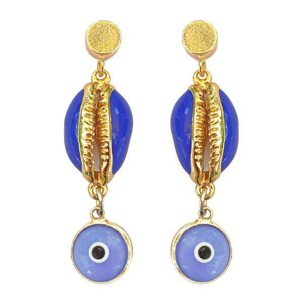 Enamel Cowry Shell Evil Eye Drop Earrings