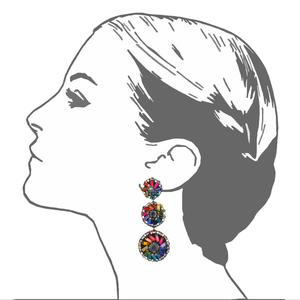 Florian Pinwheel Large Drop Earrings - Suzanna Dai