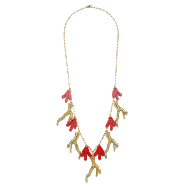 Seychelles Metallic Silk Mix Coral Necklace - Suzanna Dai