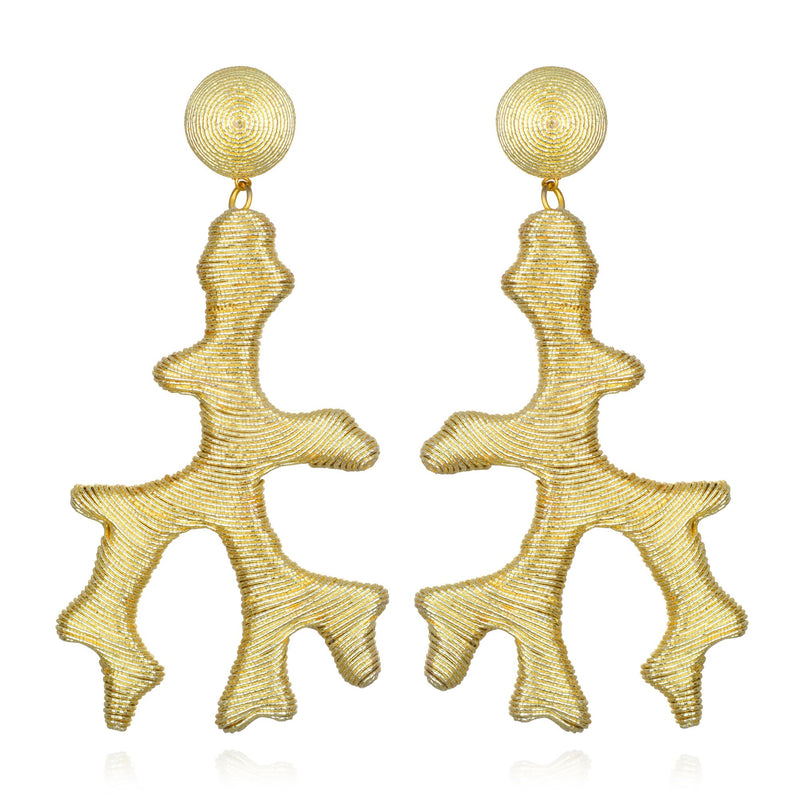 Seychelles Metallic Coral Drop Earrings - Suzanna Dai