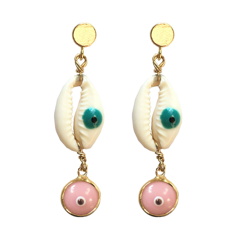 Painted Cowry Shell Evil Eye Drop Earrings